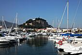 Marina, castle in background, Denia, Province Alicante, Spain