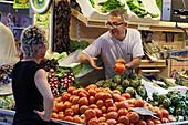Vegetable stall, market hall Mercado Central, Province Valencia, Valencia, Spain