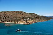 Excursion boat, Island of Spinalonga, Lasithi prefecture, Gulf of Mirabella, Crete, Greece