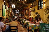 Restaurants in a lane, old town, Rethymnon, Crete, Greece