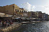 Restaurants Venetian port, Chania, Crete, Greece