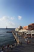 Restaurants, Turkish Mosque Yiali Tzami, Venetian port, Chania, Crete, Greece