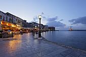 Promenade, Venetian port, Chania, Crete, Greece