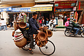 Overloaded bicycle, old town, Hanoi, Bac Bo, Vietnam