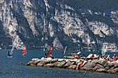 People on the beach, Torbole, Lake Garda, Trento, Italy