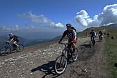 Mountain biker, Monte Baldo, Malcesine, Lake Garda, Veneto, Italy