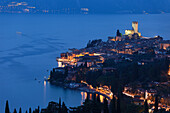 Panorama, Evening mood, Scaliger Castle, Malcesine, Lake Garda, Veneto, Italy