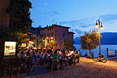 Old Harbor by night, Malcesine, Lake Garda, Veneto, Italy
