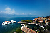 Excursion boat, Harbor, Torri del Benaco, Lake Garda, Veneto, Italy