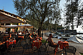 People sitting outside, Cafe, Torri del Benaco, Lake Garda, Veneto, Italy