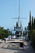 Tourists, Warship Puglia, Vittoriale degli Italiani, Gardone Riviera, Lake Garda, Lombardy, Italy