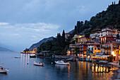 Restaurants at the lake, evening mood, Varenna, Lake Como, Lombardy, Italy