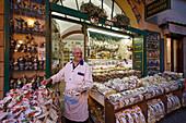 Salesman, Delicatessen Shop, Stresa, Lago Maggiore, Piedmont, Italy