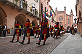 Procession in traditional costumes, Palio, Alba, Langhe, Piedmont, Italy