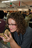 White Truffles, Woman, Truffle Fair, Alba, Langhe, Piedmont, Italy