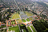 Aerial view at Castle of Nymphenburg, Munich, Bavaria, Germany, Europe