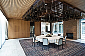 Dining room with massive ceiling lamp, official chancellor bungalow, built 1964, Bonn, Germany, Europe