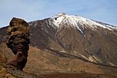 Roque Cinchado and Mount Teide in Parque Nacional del Teide Tenerife Spain