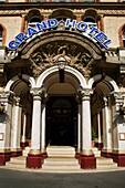 Entrance to The Imposing Grand Hotel in Scarborough North Yorkshire England