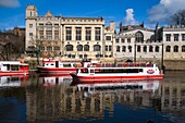 Pleasure Boat on The Ouse by The Guildhall York North Yorkshire