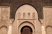 Detail of Stucco plaster work and cedarwood carving at the Ali Ben Youssef Medersa, Marrakech, Morocco, North Africa
