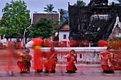 A Procession of Monks collecting alms at dawn, Luang Prabang, Laos