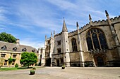 St John's Quad, Chapel, Founders Tower and Presidents lodgings at Magdalen College, Oxford, England, UK