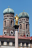 Towers of Frauenkirche and Mary's column in the middle Munich, Bavaria, Germany