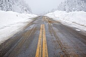 Kancamagus Pass after a snow storm Located along the Kancamagus Highway route 112, which is one of New England's scenic byways Located in the White Mountains, New Hampshire USA