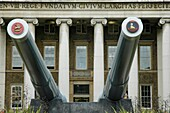 Large canons outside the Imperial War Museum, Lambeth, London, England
