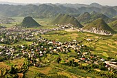 paddy-fields around Tam Son village viewed from Quan Ba Pass on the road to Yen Minh, Ha Giang province, northern Vietnam, southeast asia
