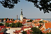 towers and ramparts of the Old Town seen from Kohtu street view platform on Toompea Hill, Tallinn, estonia, northern europe