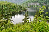 Georges lake on Pioui path, Grands-Jardins National Park, Province of Quebec, Canada, North America