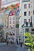 mural painting, Petit Champlain district, Quebec city, Province of Quebec, Canada, North America