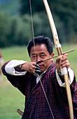 Archery, national sport, Paro valley Rinpung Dzong Bhutan