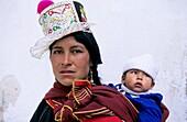 Woman and his son in Tarabuco Sucre Bolivia