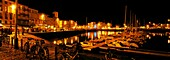 The old port of La Rochelle on the Atlantic Coast of France at night