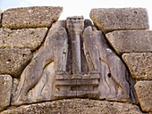 europe, greece, peloponnese, ancient mycenae, archaeological area, gate of the lions, detail