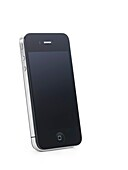 Apple iPhone 4 smartphone with clear screen isolated with clipping path on white background High quality photo