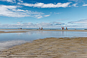 Main Beach, Reflection of clouds in water, North Sea Island Juist, East Frisia, Lower Saxony, Germany
