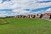 Dyke houses on the Watt Side, Bill Street, North Sea Island Juist, East Frisia, Lower Saxony, Germany