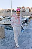Actor Mario Adorf at Dubrovnik harbor, during film shooting for an ARD Degeto-Mona film, Dubrovnik, Croatia, Europe