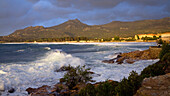 Sunset and surf in Algajola Bay, North-west coast, Balagne region, Corsica, France, Europe