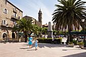 Place de la liberation, Sartene, Corsica, France, Europe, model released