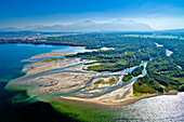 Aerial view of the Tirol Ach river delta in the Chiemsee, Tiroler Achen, Natural reserve, Chiemgau, Upper Bavaria, Bavaria, Germany