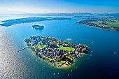 Aerial view of the Frauenchiemsee Abbey, Fraueninsel in the background with Herrenchiemsee on the left side , Chiemsee, Chiemgau, Upper Bavaria, Bavaria, Germany