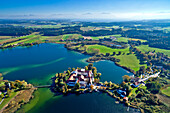Aerial view of the Seeon Abbey, Seeon, Seon-Seebruck, Chiemsee, Chiemgau, Upper Bavaria, Bavaria, Germany