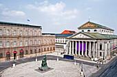 The Bavarian State Opera and the REsidence, Max-Joseph-Platz, Munich, Upper Bavaria, Bavaria, Germany