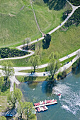 View of the Olympic Lake in the Olympic Park from above, Olympic Park, Munich, Upper Bavaria, Bavaria, Germany