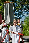 Girl in a white robe, Corpus Christi procession, Benediktbeuern, Alpine foreland, Upper Bavaria, Bavaria, Germany